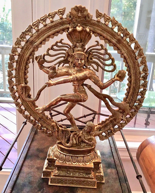 """Statue of Shiva, Solid Carved Brass, 22.25"""" high, Hindu, India, sale"""