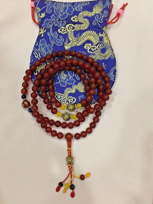 Mala, Carnelian, 108 Beads, Gem Spacers, Handmade, Free Bag
