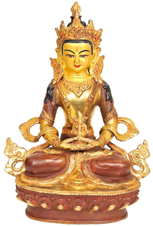 Statue, Amitayus, Buddha of Long Life, 24K Gold, 8.5in Tall, sale