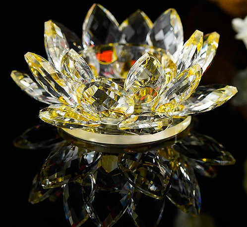 Crystal Gold Lotus Flower, Tea or Pillar Candle, Real Crystal, #sale