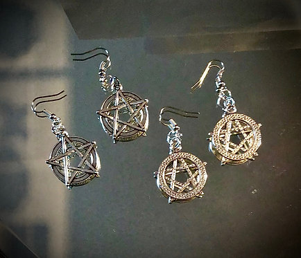 Earrings, Two Pairs of Pentagrams, Surgical Steal, Silver Finish, #sale
