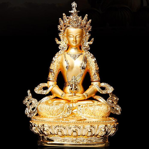 Statue, Amitabha, Brass and Gold alloy