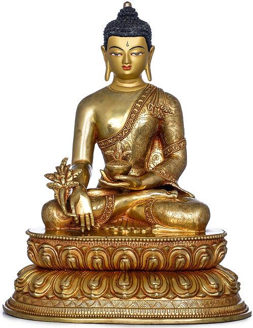 Statue, Medicine Buddha, 24K Gold, Copper, 12 in tall, Buddhist, Tibetan