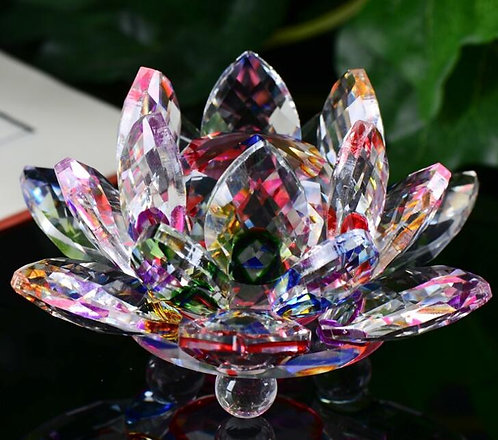 Crystal Rainbow Lotus Flower, Large, Beautifully Clear, Buddha, OM