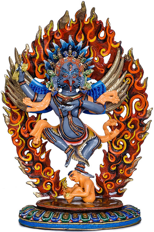 Statue, Dancing Garuda, Copper, Fully Hand Painted, 8 Inch, Protector, New!