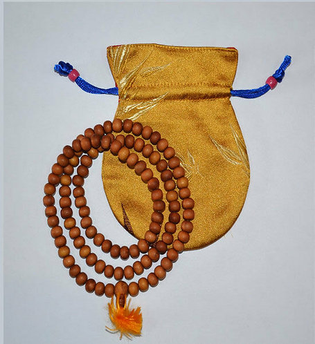 Mala, Sandalwood, 108 Beads, Handmade, Free Silk Bag