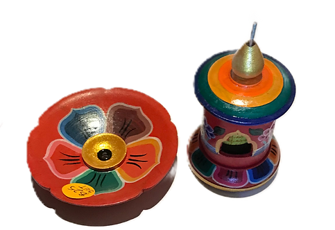 Prayer Wheel & Incense Burner Set, Hand painted in Tibet