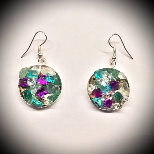 Earrings, Geode-Style, Filled with Semi-Precious Stones