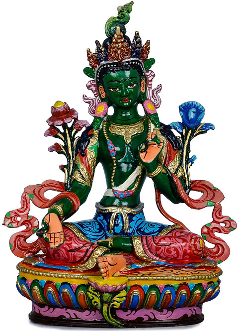 Statue, Green Tara, Copper, Fully Hand Painted, 8 Inch, Dakini, New! Gift