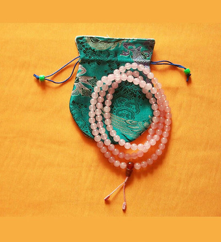 Mala, Rose Quartz, 108 Beads, Handmade, Free Silk Bag