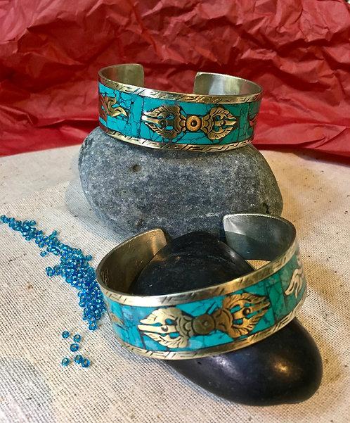 Bracelet, Cuff, Tibetan Silver, Turquoise, Dorje