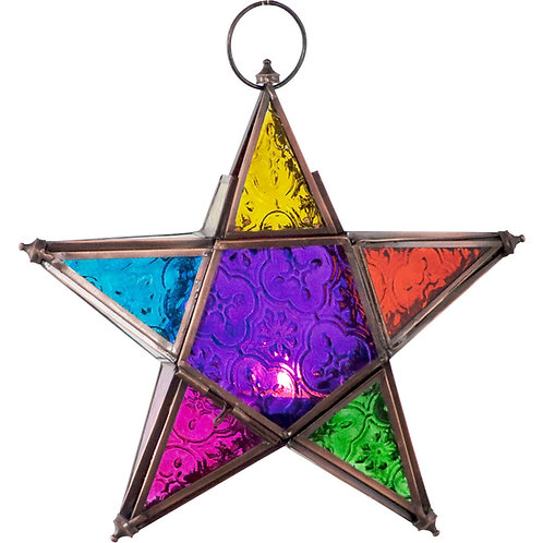 Glass & Metal Lantern 5 Point Star Multi Color