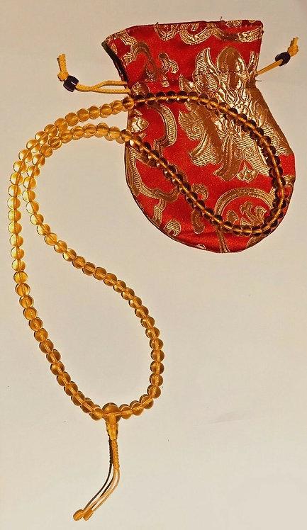 Mala, Pure Citrine, 108 Beads, Handmade, Free Silk Bag
