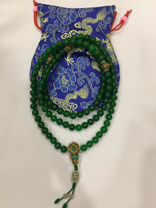 Mala, Real Green Jade, 108 Beads, Handmade, Free Silk Bag