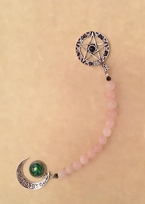 Witchcraft, Wicca, Spell Beads,10mm Rose Quartz Beads, Pentagram, Goddess, #sale