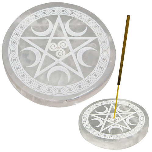 Incense Holder, Selenite, Burner, Wicca, Magic, Witchcraft, Pentagram, Moons