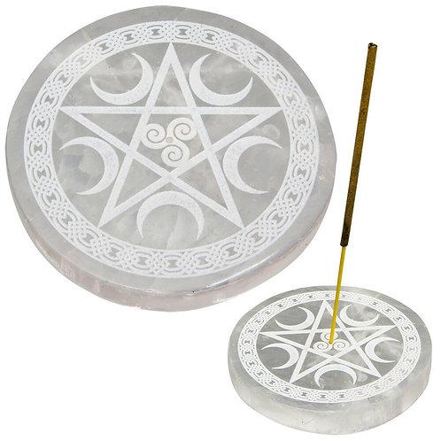 Incense Holder, Selenite, Burner, Wicca, Magic, Witchcraft, Pentagram, Moons