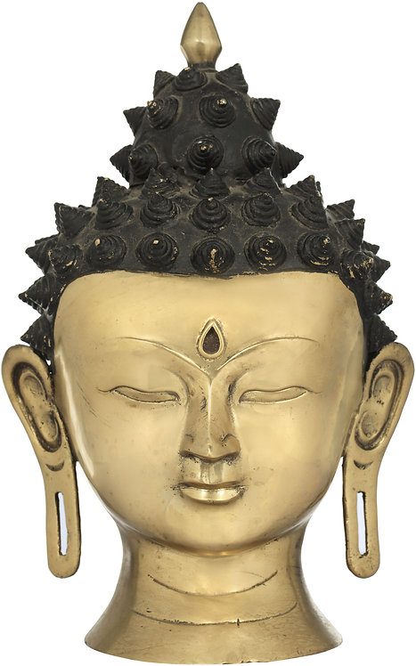 Sculpture, Buddha Head, Brass, 10 Inches Tall, New!