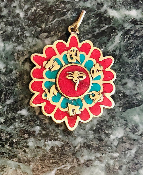 "Tibetan Brass, Turquoise and Coral ""OM MANI PEME HUNG"" Pendant"