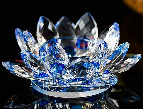Blue Crystal Lotus Flower for Tea-lights or Pillar Candle Holder in pair
