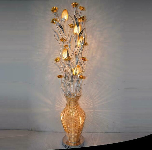 Floor Lamp, Custom, Gold and Silver Leaves, Vase Base, LED