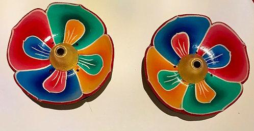 Incense Burner Set, Lotus style, Hand painted in Tibet