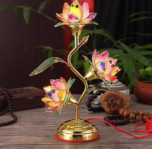 Lighting, Home Decor, 3 Lotus light Set in Pairs, Rainbow leaves