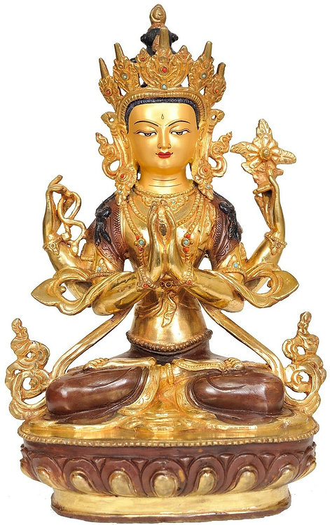 Statue, Chenrezig, Buddha of Compassion, 24K Gold, 13in Tall, sale