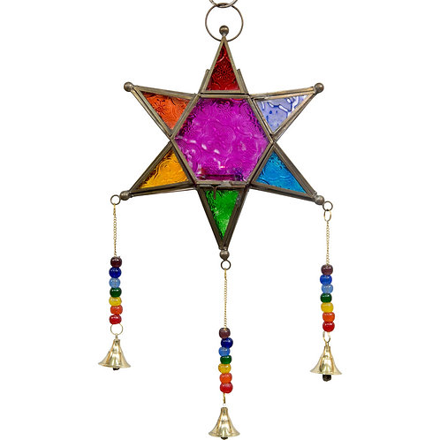 Large Glass & Metal Lantern 6 Point Star Multi Color w/ Bells