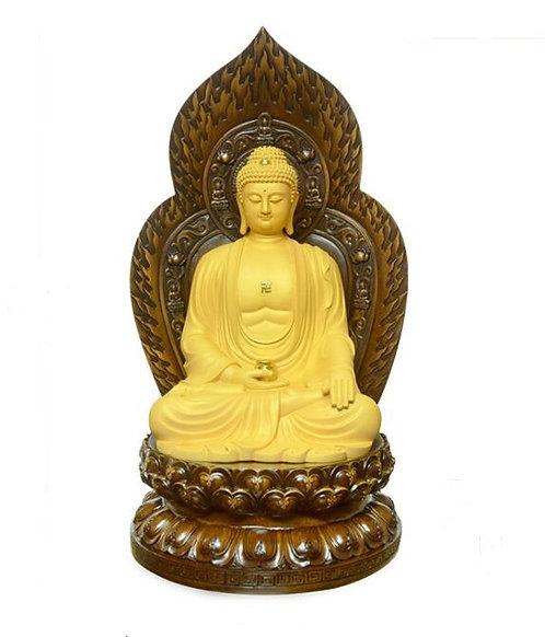 Shakyamuni Statue, Wood, Teaching, Hand Carved, Hand Painted, Buddha, Buddhist