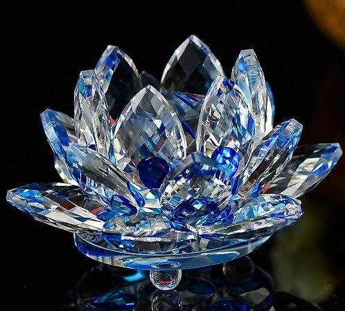 Blue Crystal Lotus Flower, Large, Beautifully Clear, Buddha, OM, #sale