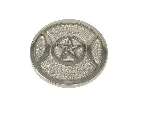 Altar Plate, Triple Moon Pentacle, High Polish Aluminum