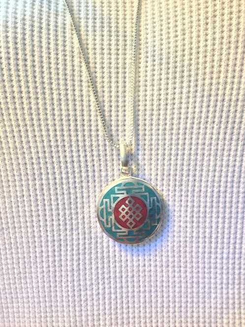Pendant, Sterling Silver, Everlasting Knot, Inlay, Turquoise, #Sale