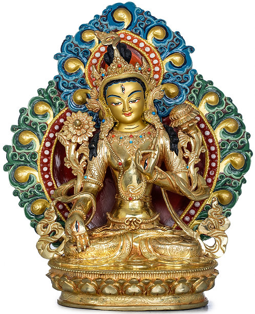 Statue, White Tara, Elaborate, 11 Inches Tall, 24K Gold Gilded, Dakini, Yidam