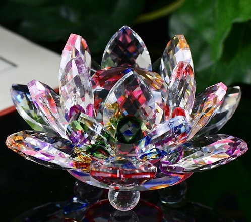 Crystal Rainbow Lotus Flower, Beautifully Clear, Buddha, Large, #crystal, #sale