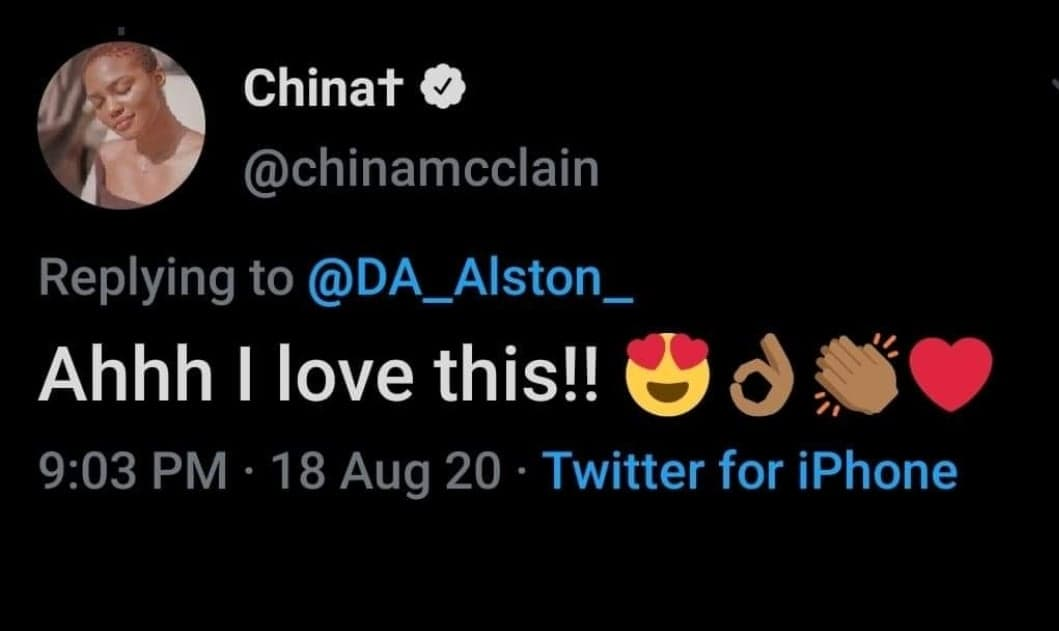 China McClain reacting to a picture I drew of her.