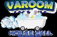 Varoom logo. Dog washing in a bath.