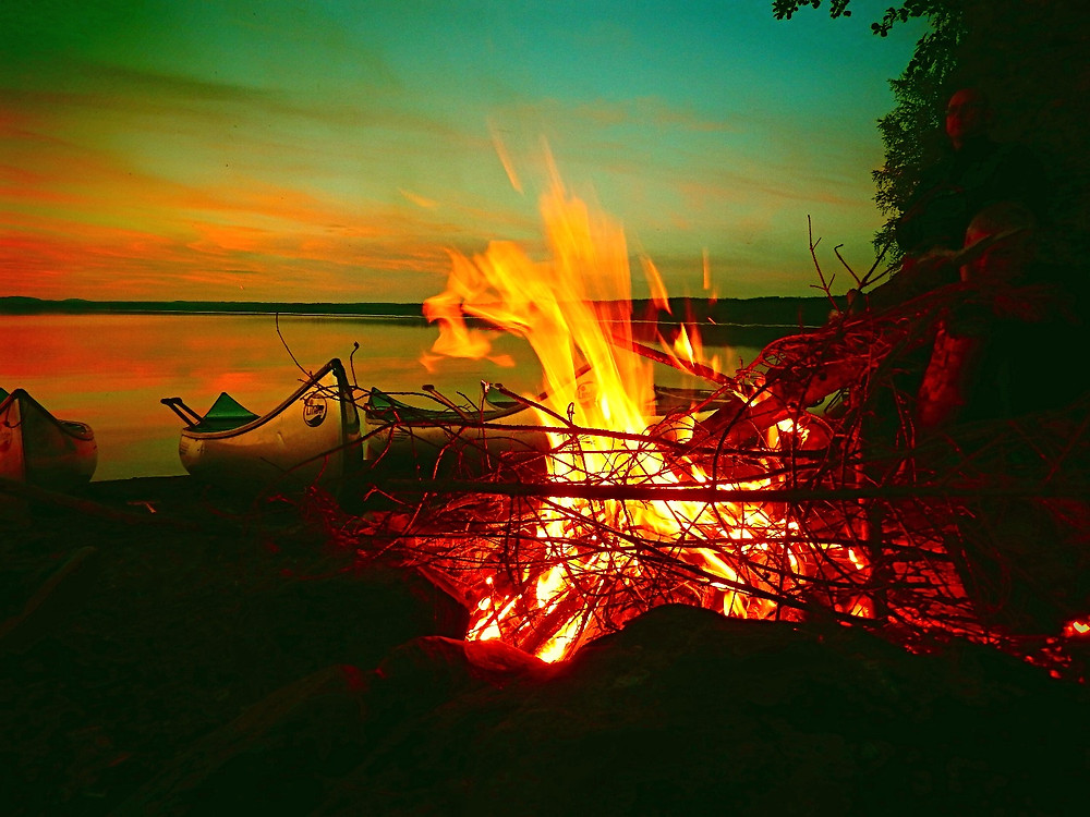 Canoe with open fire
