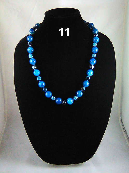 Blue Agate, with Black and Blue Agate Accent Beads