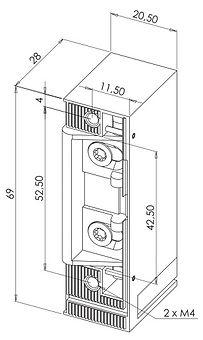 Testa electrica alta seguranca dimensoes