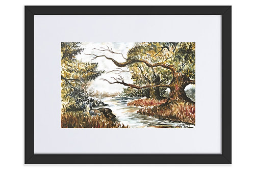 River Trees Art Print Framed With Mat