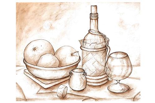 Fruit and Wine Art Print