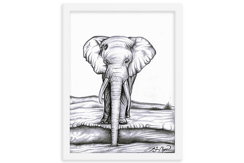 Elephant Art Print Framed