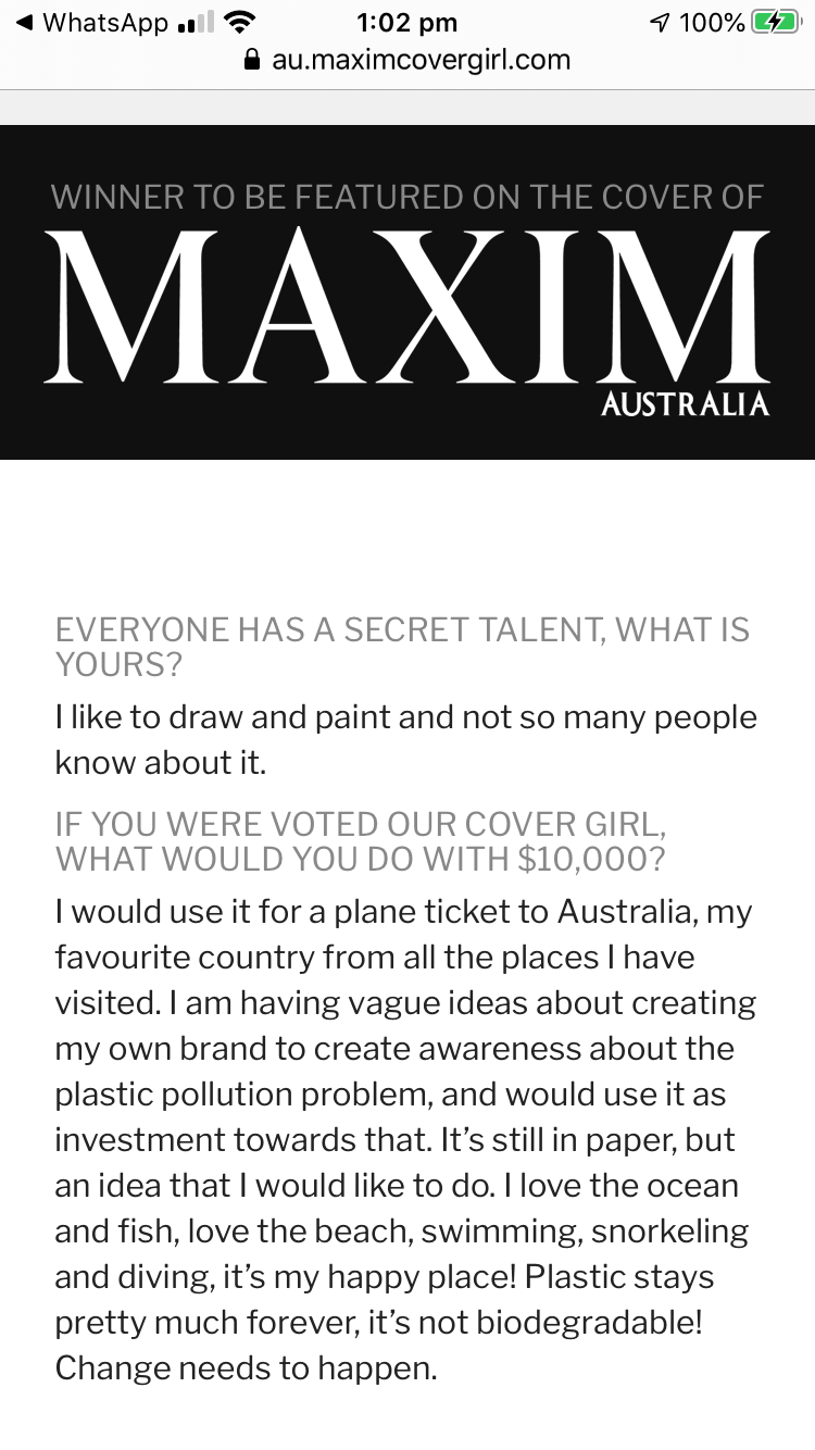 Price is the Maxim Australia Cover photo shoot and $10,000 cash.