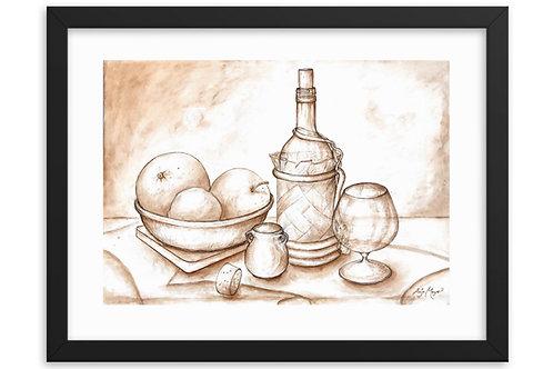Fruit and Wine Art Print Framed