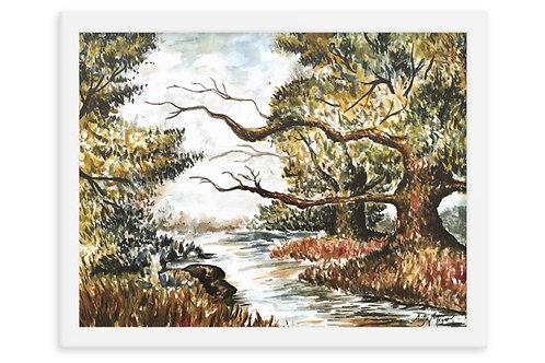 River Trees Art Print Framed