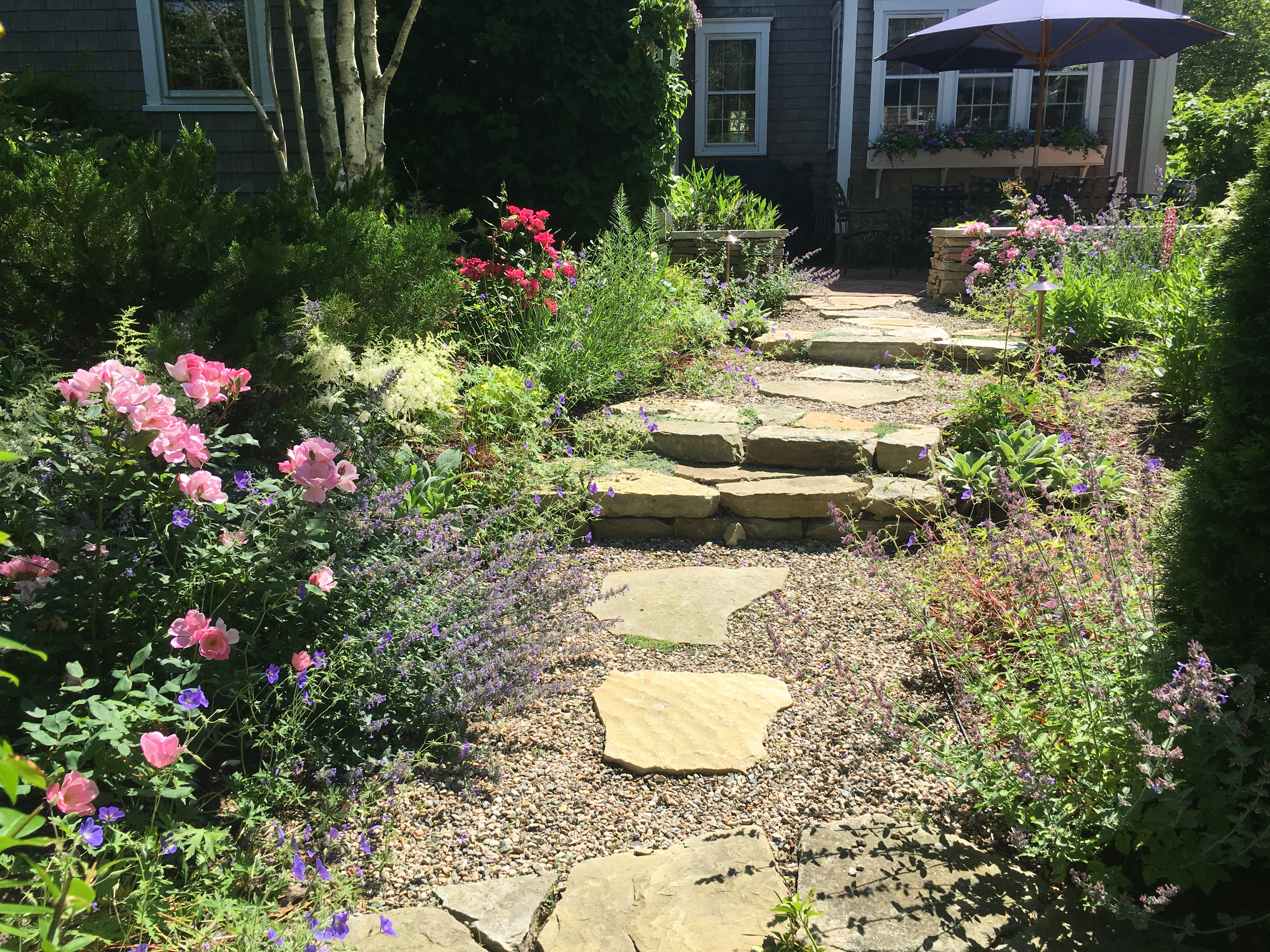 Flowers and hardscaping