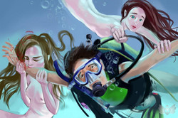 Diving with mermaids.
