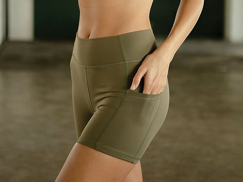Blissed Out Biker Shorts - Olive Night