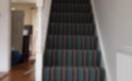 Striped carpet on staircase in Bradley Stoke